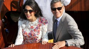 George Clooney and Amal Alamuddin in floral Giambattista Valli Couture dress.jpg