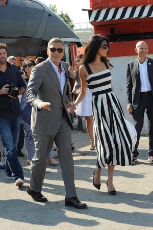George Clooney and Amal Alamuddin wedding Venice - black and white dress.jpg