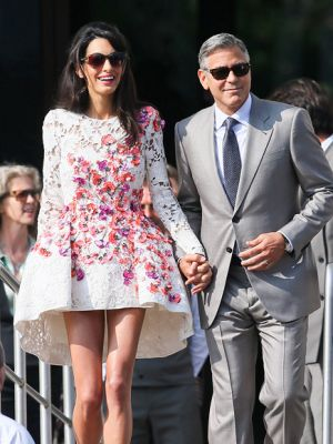 George Clooney and Amal Alamuddin wedding ring and floral Giambattista Valli Couture dress.jpg