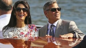 Wedding - George Clooney and Amal Alamuddin in floral Giambattista Valli Couture dress.jpg