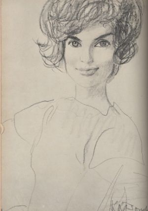 1961The only First Lady to have been sketched rather than photographed for her Vogue portrait by French illustrator Rene Bouche.jpg