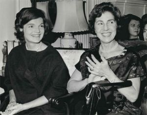 Jackie Kennedy in 1946 with her mother Janet Norton Lee Bouvier.jpg