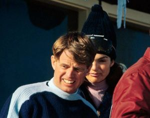 Jackie and Kennedy - jackie bouvier kennedy with robert skiing.jpg