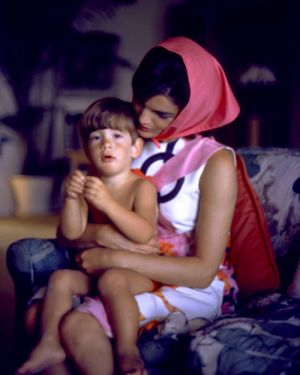 colour photo of jackie bouvier kennedy onassis and young john john.jpg