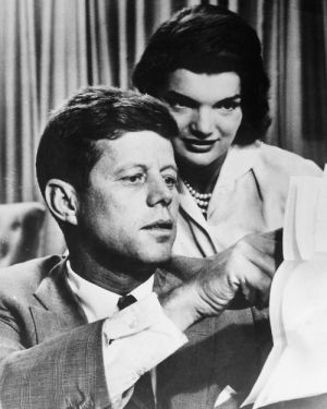 A photo dated 1950's shows John F. Kennedy with hi