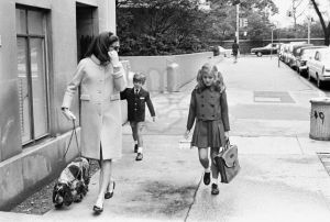 Jackie Kennedy Walking Her Children to School