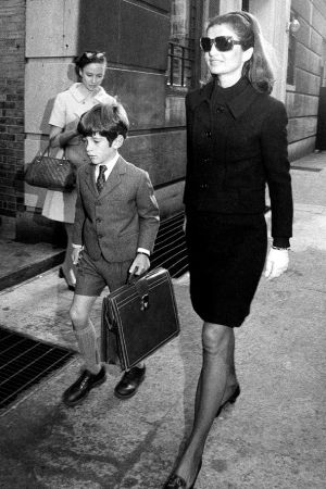 jackie kennedy style - off to school with John Jnr.jpg