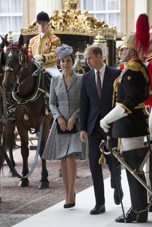 MATERNITY STYLE Kate and William - grey Alexander McQueen coat dress October 2014.jpg