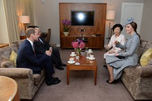 MATERNITY STYLE Kate and William with the President of Singapore October 2014.jpg