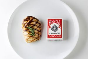 PORTION SIZES: 1 portion of meat or fish equals a deck of cards or the palm of your hand equals 3 ounces of protein