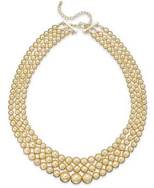 Charter Club Gold-Tone Three-Row Graduated Necklace