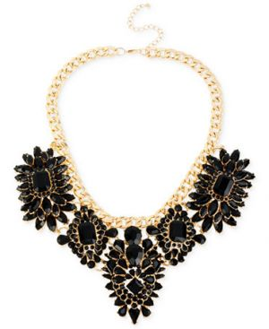 Haskell Gold-Tone Jet Mixed Bead Statement Frontal Necklace.jpg
