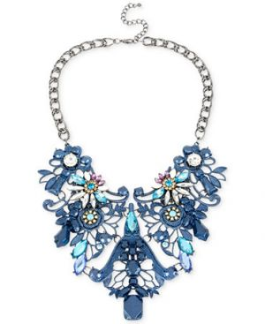 Haskell Hematite-Tone Blue Filigree and Crystal Frontal Statement Necklace