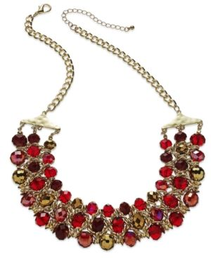 Styleco. Gold-Tone Faceted Red Bead Three-Row Frontal Necklace