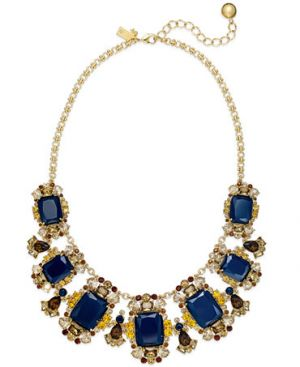 kate spade new york Gold-Tone Blue Stone Graduated Frontal Necklace
