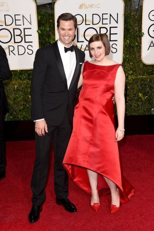 Golden Globes 2015 fashion - Andrew Rannells and Lena Dunham.jpg