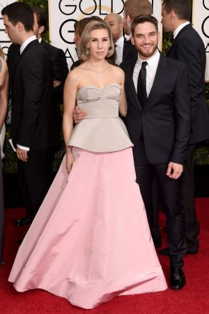 Golden Globes 2015 fashion - Zosia Mamet and Evan Jonigkeit.jpg