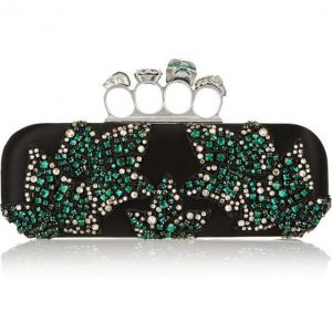 ALEXANDER MCQUEEN Knuckle Swarovski crystal-embellished satin box clutch