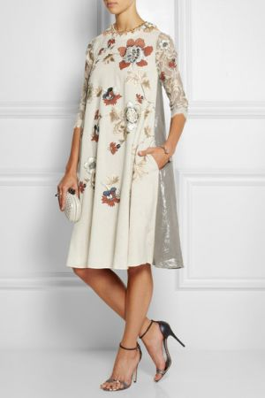 BIYAN Liana embellished embroidered voile lace and lame dress