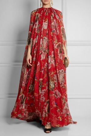 DOLCE and GABBANA Printed silk-chiffon gown