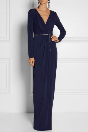 HALSTON HERITAGE Wrap-effect stretch-jersey gown