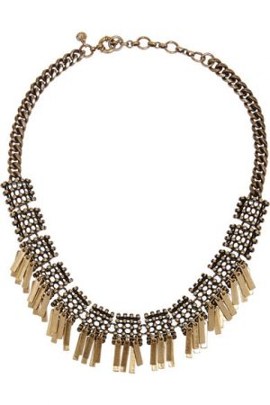 J.CREW Geometric Fringe gold-plated necklace