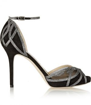JIMMY CHOO Mambo textured-lame and suede sandals