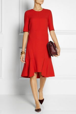 MARNI Paneled wool-crepe dress