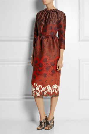 MOTHER OF PEARL Juliann printed wool and silk-blend dress
