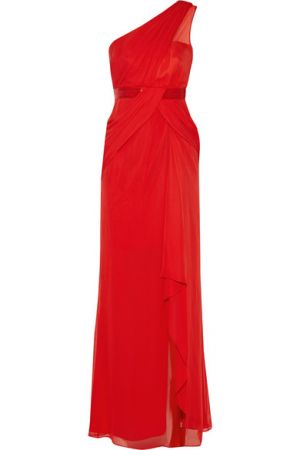 NOTTE BY MARCHESA One-shoulder silk-georgette gown.jpg