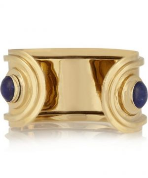 PAMELA LOVE Oracle gold-tone silver and lapis lazuli cuff
