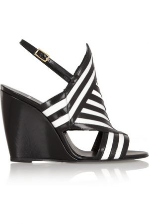 PIERRE HARDY Two-tone leather wedge sandals