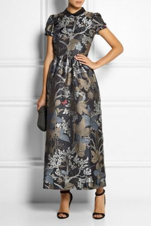 RED VALENTINO Metallic jacquard maxi dress