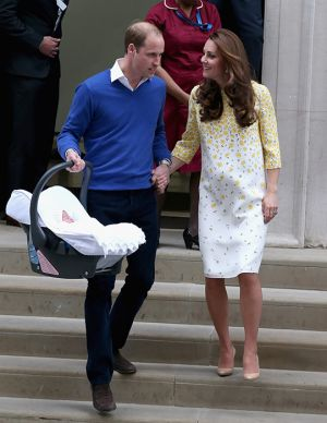 Duchess of Cambridge and her new daughter go home - May 2015.jpg