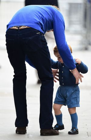 Pick me up Dad - Prince George arrives to meet his baby sister.jpg