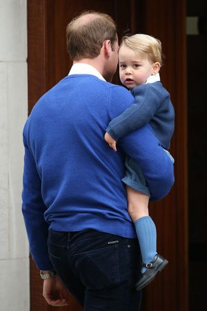 Prince George arrives to meet his baby sister at the hospital.jpg