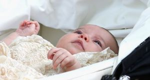 Princess Charlotte christening in her pram en route to St Mary Magdalene Church in Sandringham.jpg