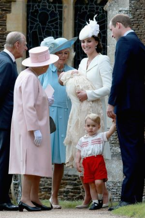 Princess Charlotte of Cambridge at St Mary Magdalene Church in Sandringham with the Queen.jpg