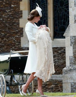 Princess Charlotte with her mother Kate Middleton - christening Sandringham.jpg