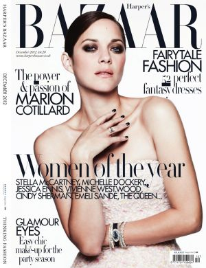 Marion Cotillard by Ben Hassett for Harpers Bazaar UK Dec 2012 cover.jpg