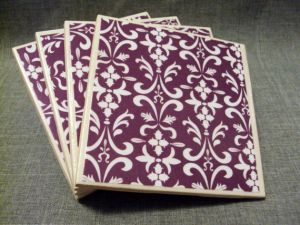clinesDesigns etsy - Ceramic tile coasters- Purple and White Damask.jpg