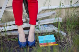 luscious blue shoes and books - Living lusciously.jpg