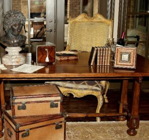 Vintage luggage - mylusciouslife.com - Desk with two vintage suitcases.JPG