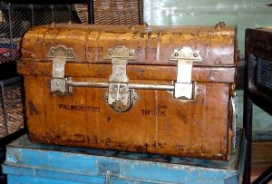 Vintage luggage - mylusciouslife.com - Vintage metal travel trunk.jpg