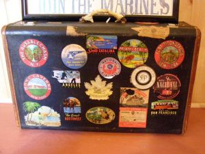 Vintage luggage - mylusciouslife.com - Vintage suitcase covered in stickers.jpg