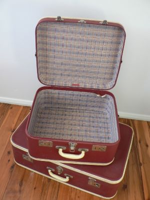 Vintage luggage - mylusciouslife.com - Vintage suitcases - red with cream trim stacked.jpg