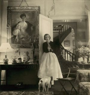 Baroness Philippe de Rothschild in Drawing Room with Dog
