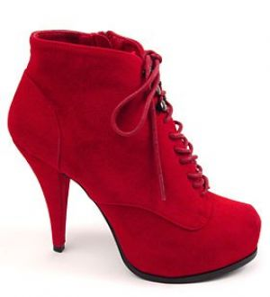 Red Faux Suede Lace-Up Platform Booties from Plasticland.jpg