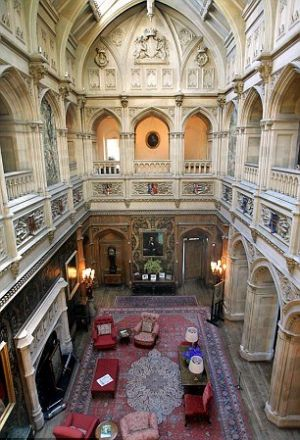 Downton Abbey and Highclere Castle interiors - Saloon-View-from-Gallery-above.jpg