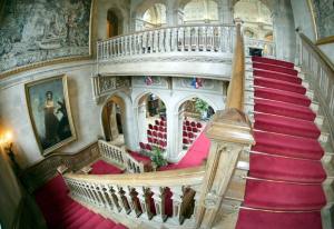 Downton Abbey and Highclere Castle interiors - grand staircase.png